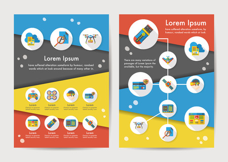 Technology icons set with long shadow Stock Illustratie