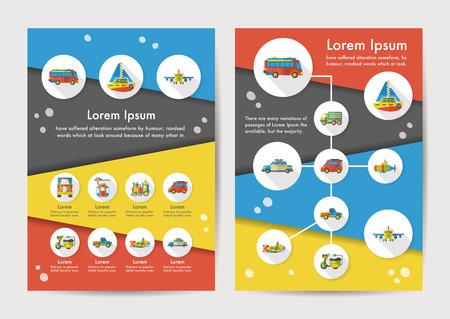 rad: Transport icons set with long shadow,eps10 Illustration
