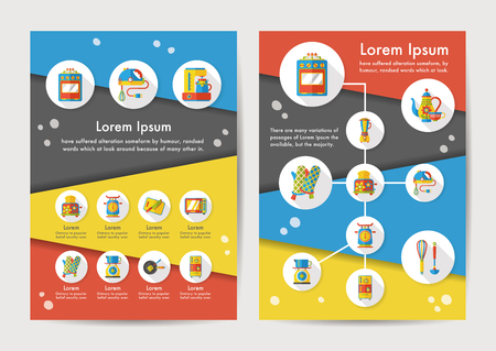 Kitchen icons set with long shadow Illustration