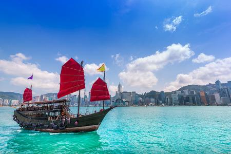 junk: Travelling Hong Kong  with junk boat Stock Photo