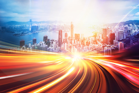Motion speed effect with Hong Kong City in background
