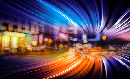 Motion speed effect effect with Hong Kong City in background Stock Photo