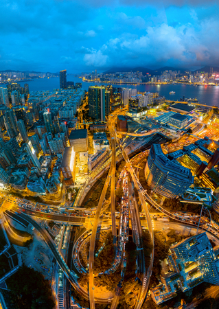 Aerial view Panomara Cityscape of Kowloon District in Hong Kong, China