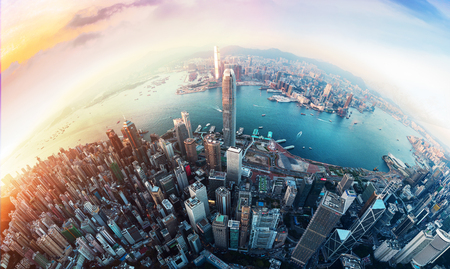 Hong Kong financial district view from sky Stock Photo