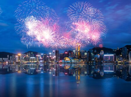 Firework Show effect on Hong Kong Victoria Harbor