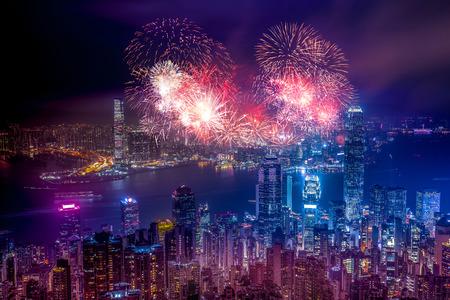 Firework Show effect on Hong Kong Victoria Harbor