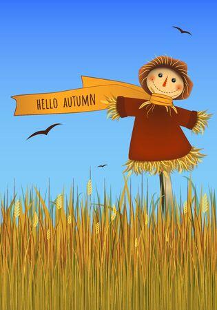 Hola cartel de otoño. Espantapájaros sonriente en campo. Imagen vectorial. Ilustración de vector