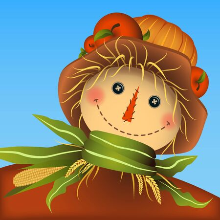 Smiling scarecrow. Apples and pumpkin on the hat top. Corn leaves scarf with straw.