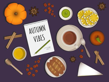 Autumn vibes - upper table view composition. Set with different objects like tea cup, honey, lemon slices, pumpkin, baguettes, candle, apple, note book with inscription aso. Autumn theme. Vector.