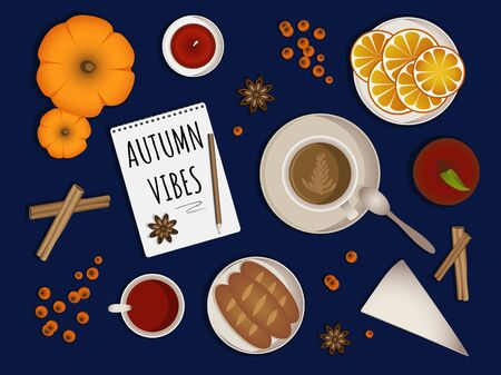 Autumn vibes - upper table view composition. Set with different objects coffee cup, jam, orange slices, pumpkins, baguettes, candle, apple, note book with inscription aso. Autumn theme. Vector. Vettoriali