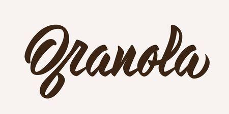 Granola - calligraphic inscription. Hand lettering on light background. Vector. Zdjęcie Seryjne - 132548828