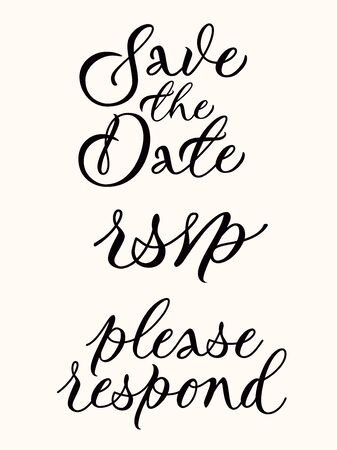 Save the date, rsvp, please respond - wedding card template set. Calligraphic inscriptions on light background. Great for wedding invitations, postcards. Responding card. Vector.