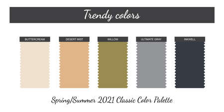 Classic neutral colors palette. Spring-Summer 2021. Fabric pieces. Isolated white background. Vector.