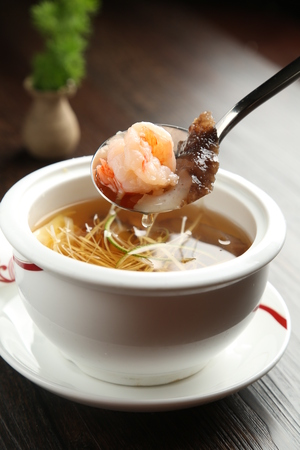 sea cucumber: Health sea cucumber soup with shrimp
