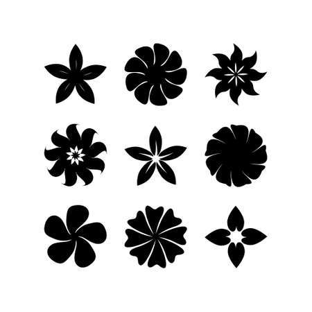 Set of abstract silhouettes floral vector element on white background.