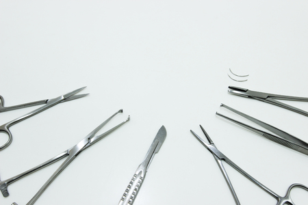 Surgical Instruments Isolated on the White Background Stock Photo
