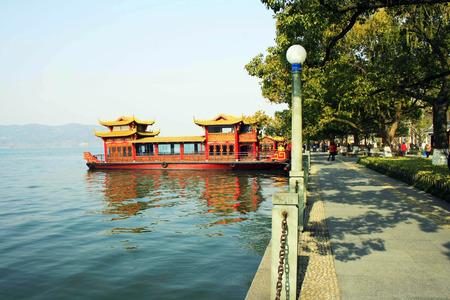 lakeview: boat at  Hangzhou West Lake