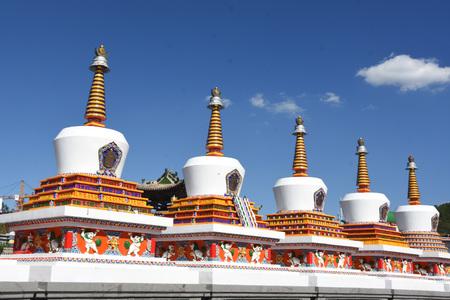 Taer Monastery pagoda under the blue sky Stock Photo