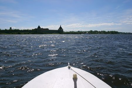 middle ages boat: Boat going to Oreshek castle (Middle Ages, Russia)