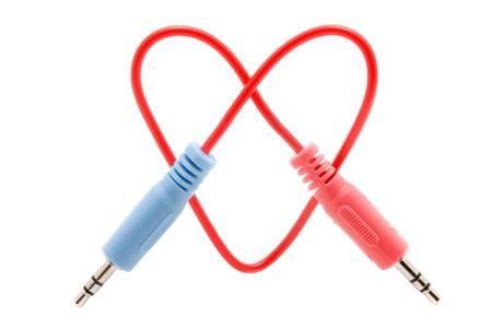 jackplug: Cable connector heart with two colored jackplug