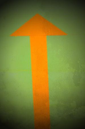 roadworks: Arrow up. Roadworks: direction indicator for pedestrian. Stock Photo