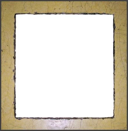 Worn marble frame. Isolated on white. photo