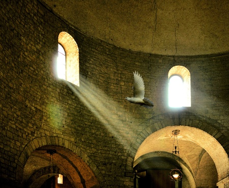 Interior of a Romanesque church Italy. Divine presence concept. Editorial