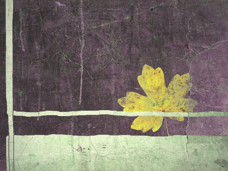 smeared: Grunge border with maple leaf
