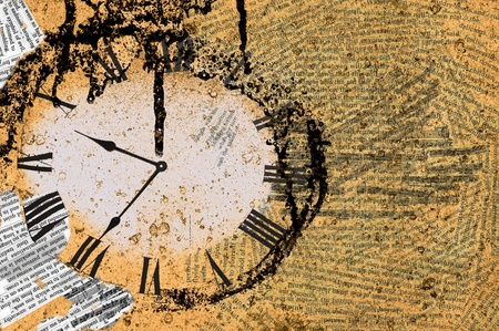 Grunge background with clock face photo