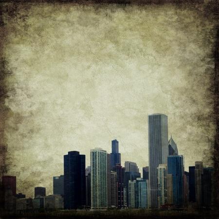 Grunge city skyline Stock Photo
