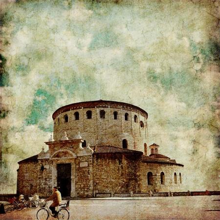 Grunge image of Romanesque church  La Rotonda     Brescia, Italy