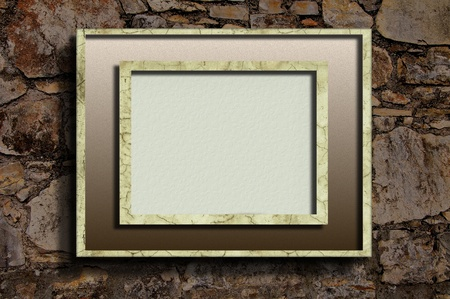 Linear frame on stone wall photo