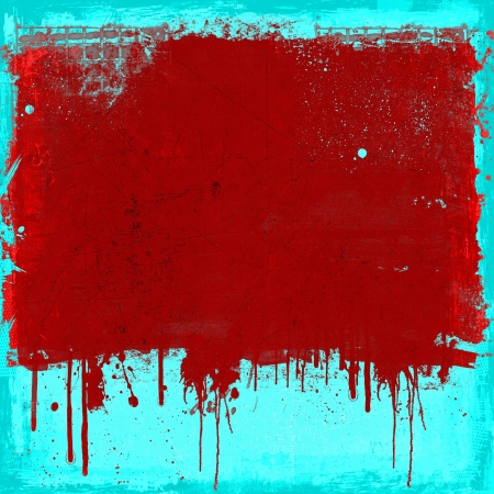 Grunge dripping background in red and blue Stock Photo