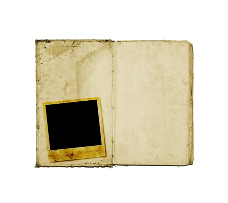 Old open book with instant images Stock Photo