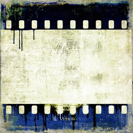Grunge blue film strip frame photo