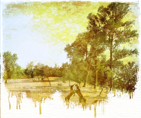 rearing: Vintage rural landscape with two rearing horses