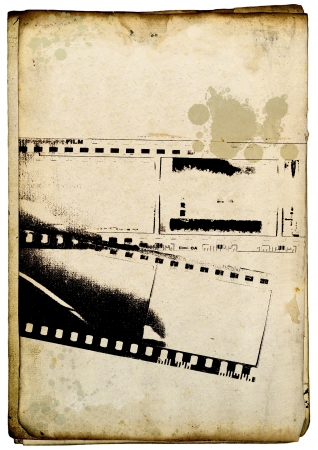 Grunge film strip background on old paper photo