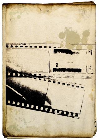 Grunge sfondo striscia di pellicola sulla vecchia carta