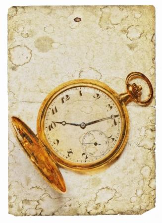 Vintage image of old golden pocket watch photo