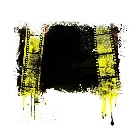 Grunge dripping film strip frame