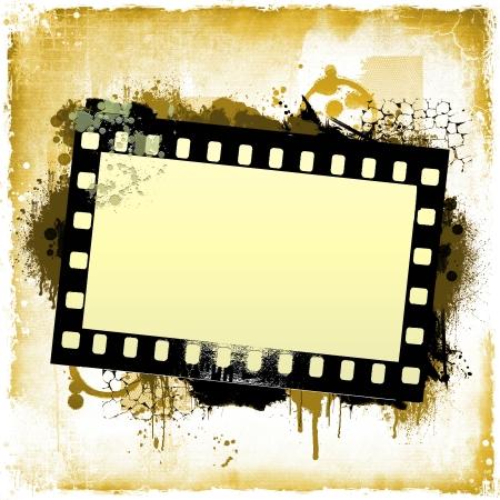 travel collage: Grunge dripping film strip frame