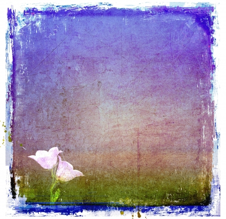 Grunge blue abstract texture or background with bell-flower