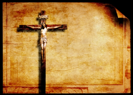 Grunge paper with old crucifix photo