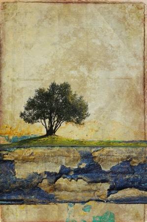 Paesaggio surreale con singolo albero Archivio Fotografico