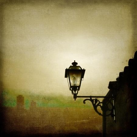 Old street lamp on skyline background Stock Photo