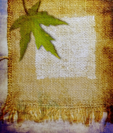 Jute painted  with water colors and maple leaf photo