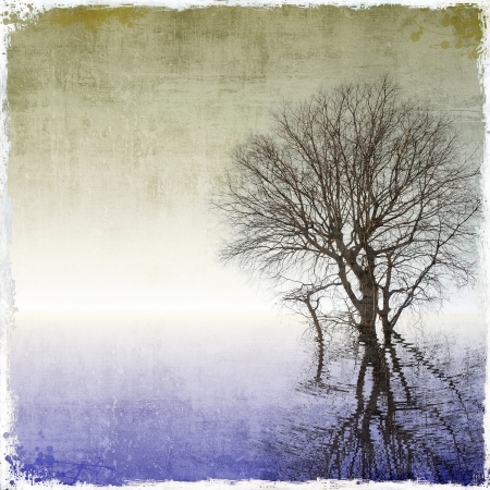 urban art: Grunge background with tree reflected in water