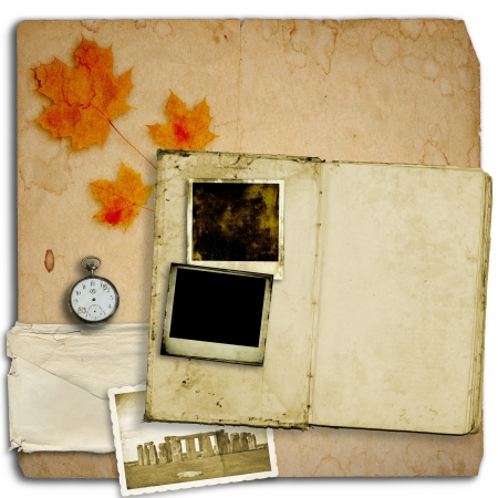 Open diary book or photo album with vintage instant photos photo