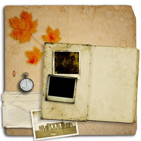 Open diary book or photo album with vintage instant photos Stock Photo - 16133318