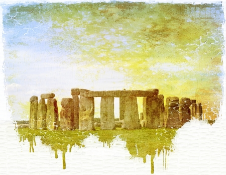 pictorial:  Stonehenge vintage image with pictorial effect of painting